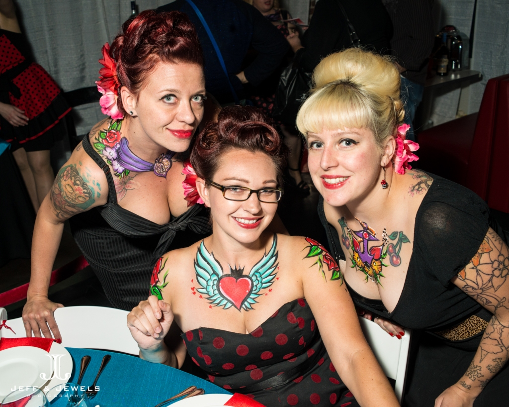 body painted tattoos for the pinup rockabilly vignette denver wedding show