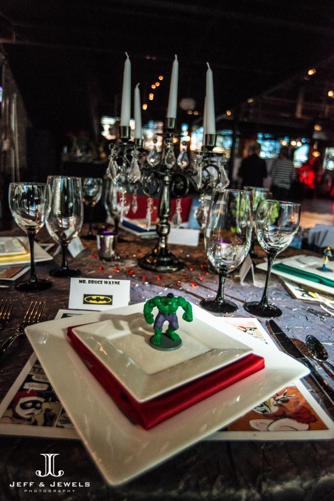 comic book super hero wedding table decor denver bridal show